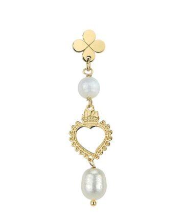 orecchino cuore con perla lebole