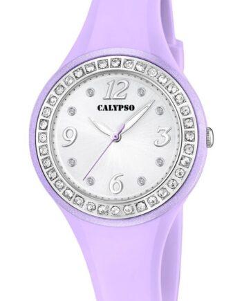 orologio trendy gommato violetto con strass calypso k5567/D