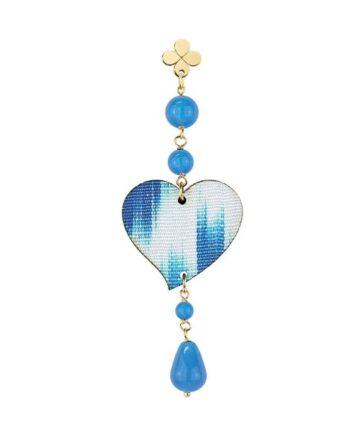 orecchino cuore seta azzurro lebole