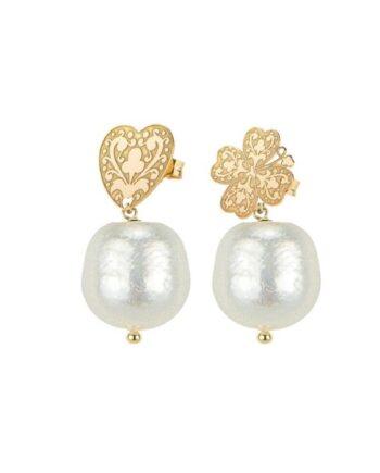 orecchini cuore e quadrifoglio con perle lebole
