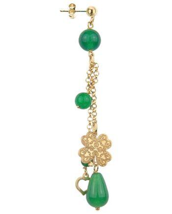 orecchino ciuffo argento galvanizzato oro quadrifoglio verde lebole