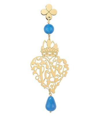 orecchino cuore love traforato azzurro lebole