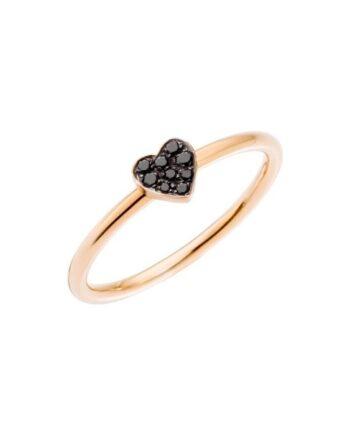 anello oro rosa cuore brill black dodo