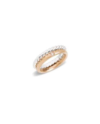 anello fede torchon con fede sabbiata e diamante pomellato