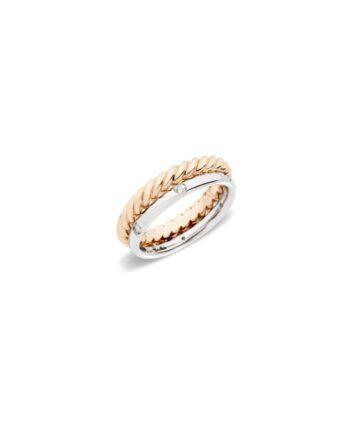 anello torcho e fede con diamanti pomellato