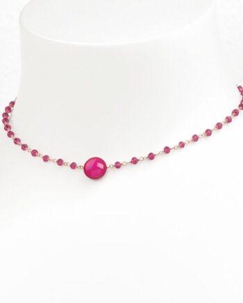 girocollo un pois pink rosso prezioso