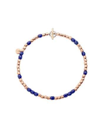 bracciale mini granelli oro rosa e ceramica blu dodo