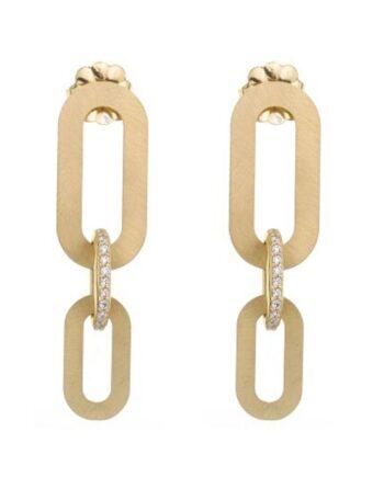 orecchini gli ovali argento placcato oro satinato con cubi zirconia Aquaforte