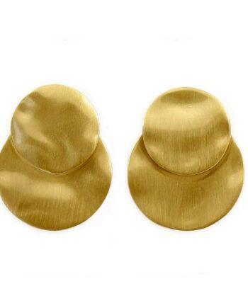 orecchini doppi dischi argento placcato oro Aquaforte