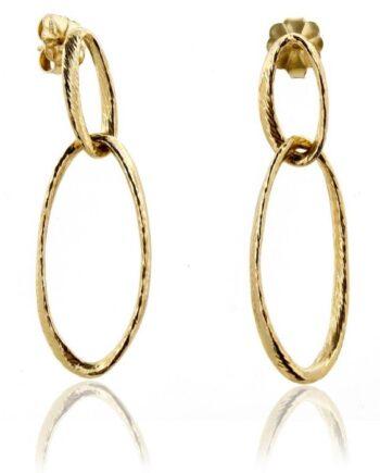 orecchini legami argento placcato oro ovali Aquaforte