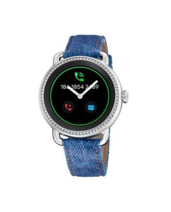 f50000/1 smartwatch festina acciaio con zirconi cinturino tessuto e pelle blu donna