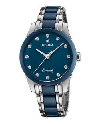 f20499/2 orologio festina ceramica donna quadrante blu con strass