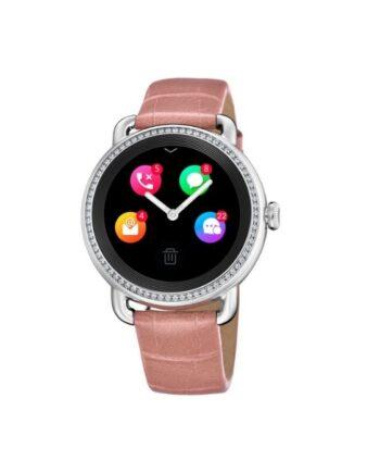 f50000/2 smartwatch donna festina acciaio con zirconi donna cinturino pelle rosa