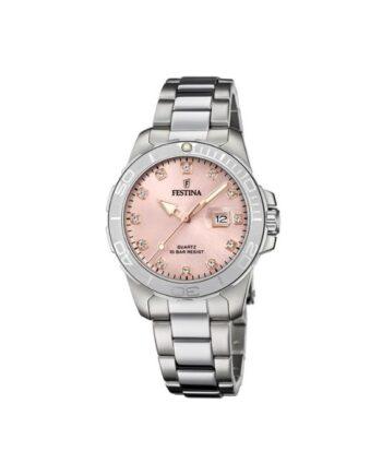 f20503/2 orologio festina acciaio donna quadrante rosa con strass