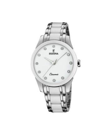 f20499/1 orologio festina ceramica acciaio donna quadrante bianco con strass