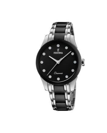 f20499/3 orologio ceramico donna acciaio quadrante nero con strass