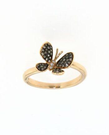 anello oro rosa farfalla pavé diamanti Brown
