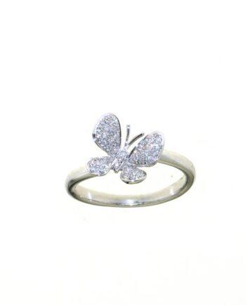 anello farfalla oro bianco pavé diamanti
