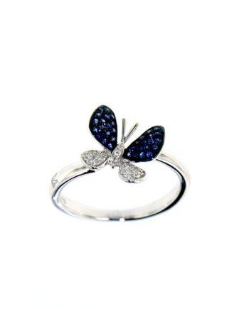 anello farfalla oro bianco diamanti e zaffiri