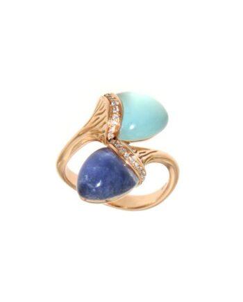 anello sofia oro rosa diamanti e sodalite/agata azzurra +quarzo lattiginosi