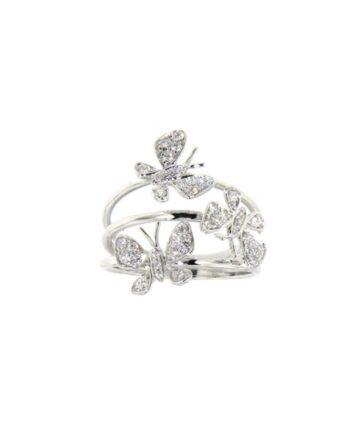 anello farfalle oro bianco e diamanti