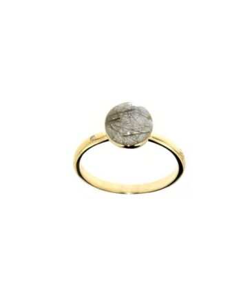 anello oro giallo quarzo rutilato