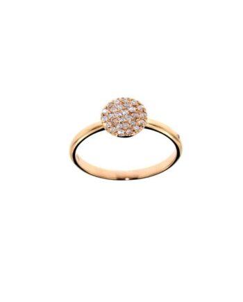 anello oro rosa pavé diamanti