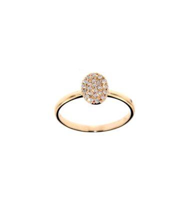 anello oro rosa e diamanti pavé
