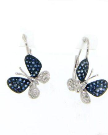 orecchini farfalle oro bianco diamanti zaffiri monachella