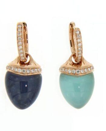 orecchini sofia quarzo lattiginoso sodalite/agata azzurra