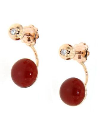 orecchini oro rosa diamanti e mop+agata rossa e quarzo fumo