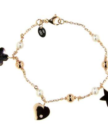 Bracciale Mademoiselle oro rosa diamanti e perle