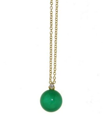 Collana Sofia oro giallo agata verde