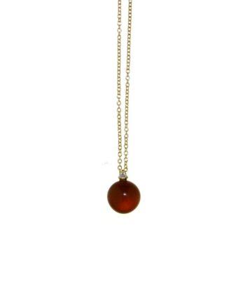 collana oro rosa diamante e rubino+cristallo di rocca