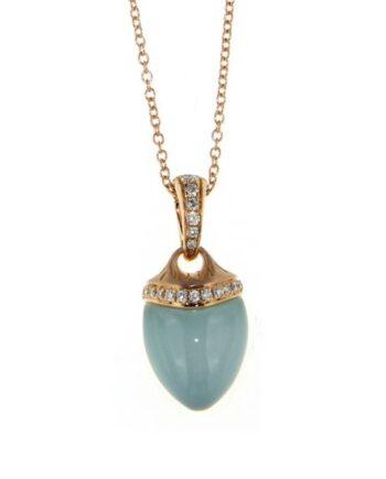 collana Sofia oro rosa diamanti quarzo lattiginoso/agata azzurra