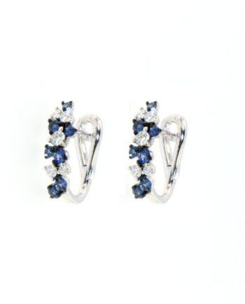 orecchini margherita oro bianco diamanti e zaffiri