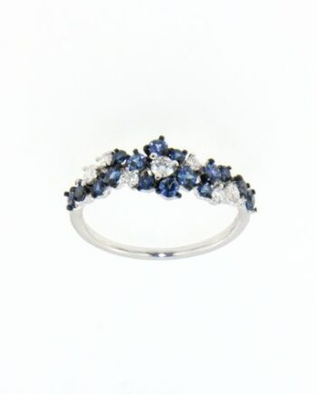 anello margherita oro bianco diamanti e zaffiri