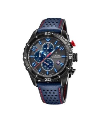 f20519/3 orologio chrono festina uomo quadrante nero cinturino pelle blu